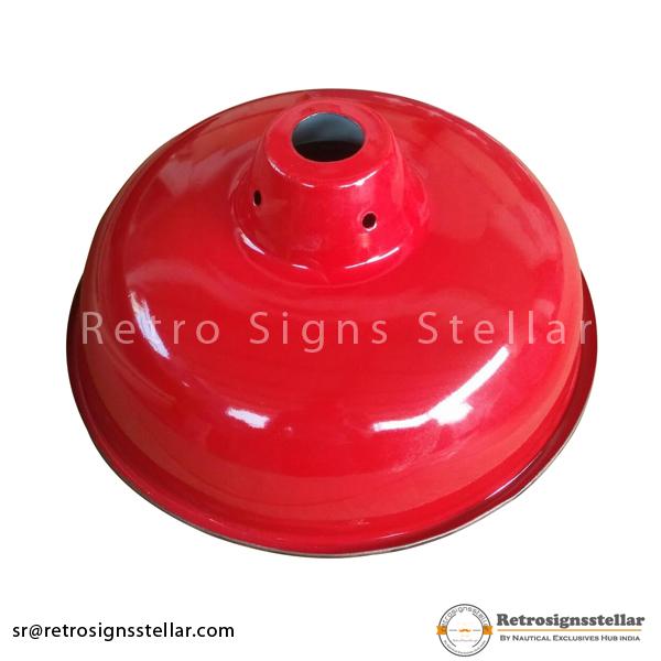 Industrial Red Enamel Lamp Shade