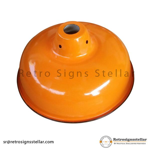 Vitreous Enameled Orange Lamp Shade