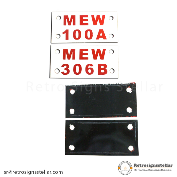 Vitreous Number Plate Sign