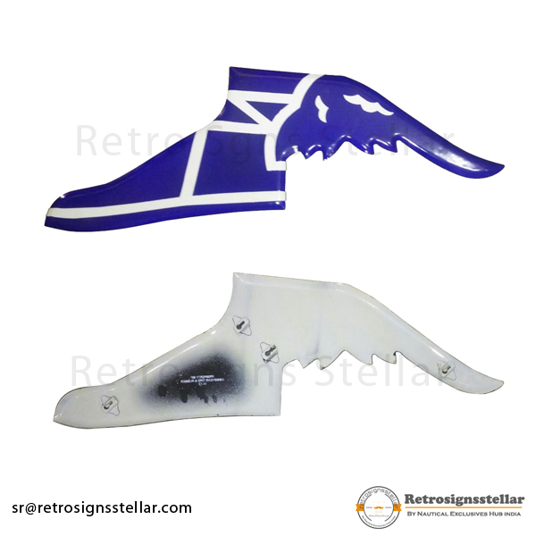 Blue White Metal Winged Shoes